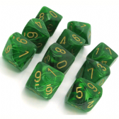 Green & Gold Vortex D10 Ten Sided Dice Set